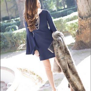 Bell sleeved navy blue dress
